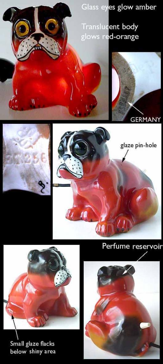 Goebel red dog perfume lamp