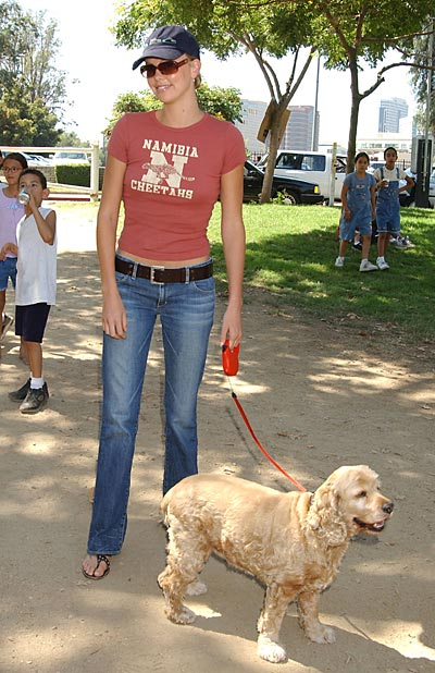 Charlize Theron and Tucker, her dog