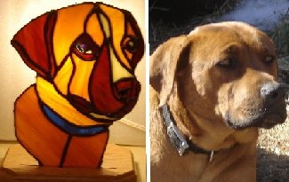 Mountain Stained Glass Candle Dog Lamps