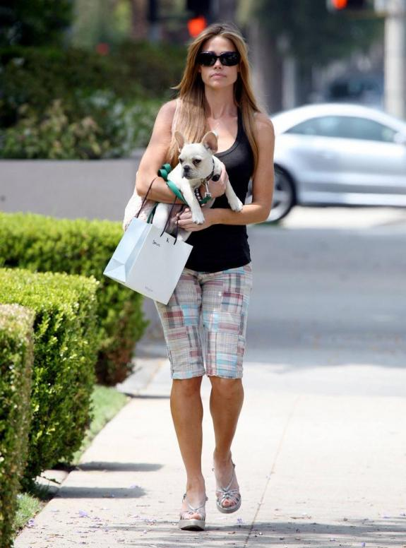 Denise Richards and her French Bulldog